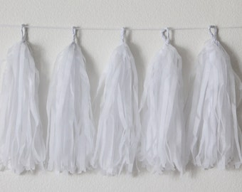 Tissue Paper Tassel Garland DIY KIT-White Party Decor-Wedding Party Banner-Snow White Garland-White Balloon Tassels-Swan Princess Party