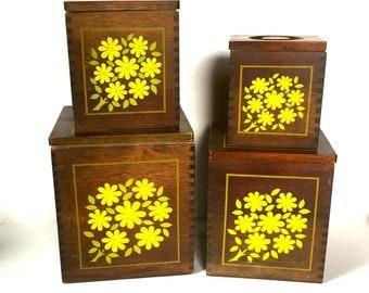 Vintage Wooden Floral Cannisters