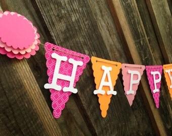 Pink and orange Birthday Banner, Happy 1st Birthday