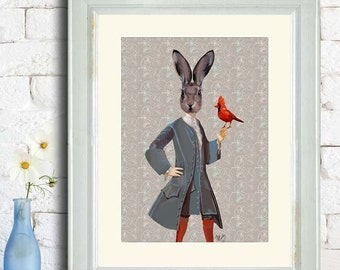 Rabbit and Bird  Art Print Poster Mixed Media Painting Wall Art Wall Decor Wall Hanging Animal Painting