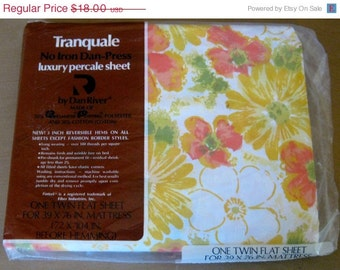 On Sale Vintage New Old Stock Dan River Tranquale Luxury Percale Twin Flat Sheet, Retro Yellow, Coral Orange, Green and White, Sealed Packag