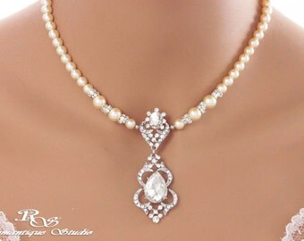 Victorian bridal necklace Swarovski cream ivory pearl wedding necklace wedding jewelry bridal accessories vintage style necklace 2174