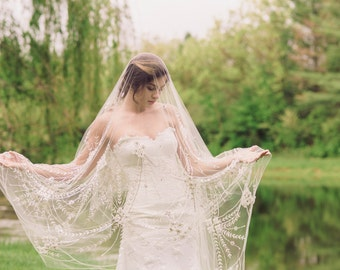 Vintage inspired cathedral length veil (1 qty ready to ship)