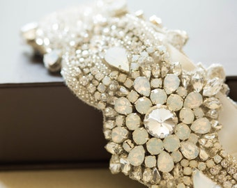 Opal and silver bridal belt - Style R51