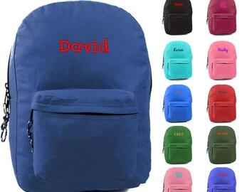 """Personalized Boys Backpack Name Monogrammed Bookbag 17"""" Large Kids Tote School Bag Embroidered Monogram Blue Black Olive Hunter Green Red"""