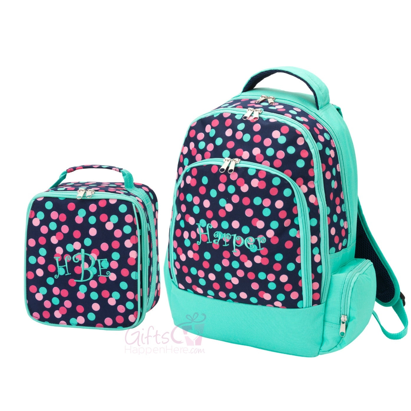 Personalized Polka Dot Backpack Lunch Bag Matching Combo
