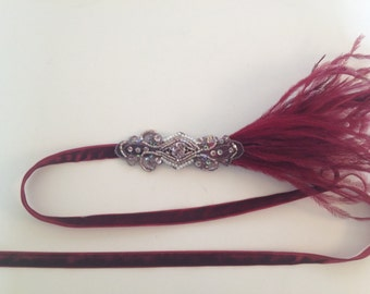 Ostrich 1920s headband, great gatsby feather headpiece, burgundy feathers blush feathers stretch elastic beaded flapper 1920s fascinator