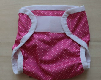 Pink with White Polk Dots PUL Cloth Diaper Cover - Extra Small (Newborn) - 6 - 14 lbs.