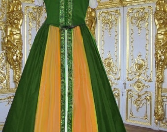 FREE SHIP Renaissance Medieval Jewel Tone Emerald Gold Costume SCA Garb Lined Bodice Overskirt 2 Pc lxl