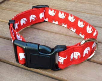 Dog Collar - Red and White Elephant Fabric