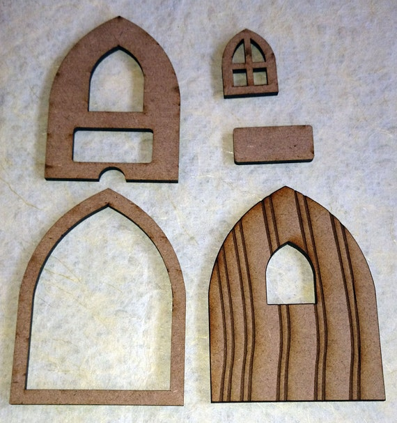 Fairy door with window and name plate laser cut from mdf for Wooden fairy doors to decorate