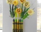 Mixed media Yellow flower crayon bouquet