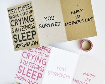 New Mom Funny Mother's Day Card / First Mother's Day Card / New Mom Card / Funny Mother's Day Card / A1 Size / Charitable Donation