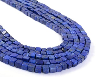 "0147 6mm Blue Lapis lazuli cube gemstone loose beads 16"""