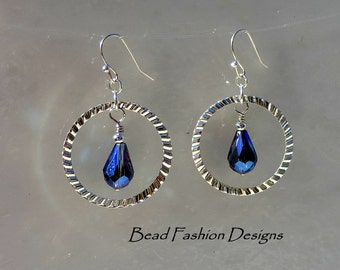Silver Plated Diamond Cut Center Ring, AB Cobalt Blue Faceted Teardrop,Dangle Earrings.