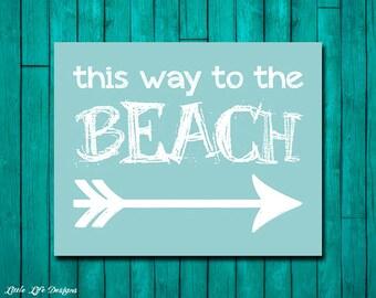 Beach Decor! Beach theme decor. Beach House Wall Art. Coastal Decor. Beach Sign. This way to the beach! Beach theme nursery. Surf Decor.