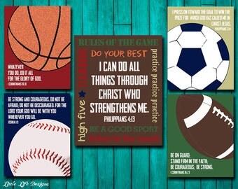Sports Decor. Sports Nursery. Boy Room Decor. Football, Baseball, Basketball, Soccer. Christian Wall Art. I can do all things through Christ