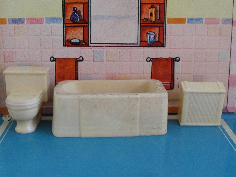 Vintage Marx Dollhouse Bathroom Furniture Bath Tub Toilet