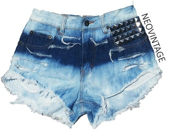High Waisted Double Ombre Bleached Pyramid Studded Festival Fringed Denim Shorts