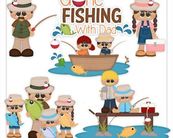DIGITAL SCRAPBOOKING CLIPART - Fishing With Dad