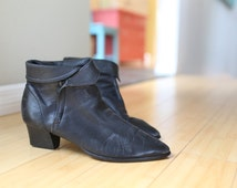 vintage cuffed black leather oxfords ankle boots womens 9