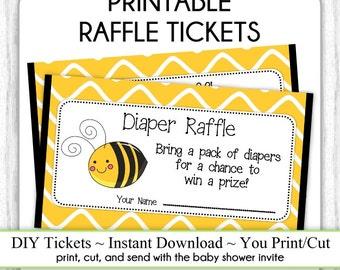 Diaper Raffle Tickets, Cute Bee Baby Shower, Printable Diaper Raffle Tickets, Baby Shower Raffle Tickets, YOU PRINT, DIY
