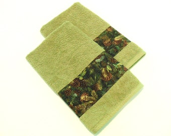 Pine Hand Towels Decorative Hand Towels Sage Green Set of 2