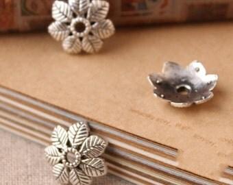 Silver Bead Caps -30pcs antique silver Mini Bead Cap Charms Findings 15mm