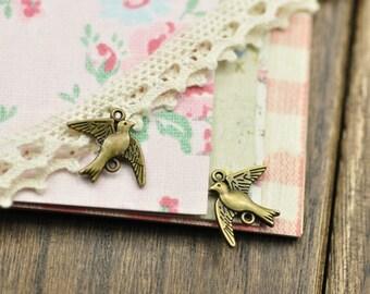 DIY 25 pcs antique silver or bronze pigeon bird charm pendant  21x17mm