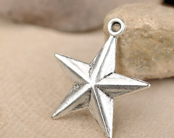 50 pcs of antique silver five-pointed star charm pendants 13x25mm