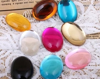 10pcs multicolour Cabochon Cover Cabs Charm Findings oval acrylic glass pendant 18x25mm