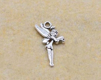 Angel charms-30 pcs of antique silver angel girl charm pendant 25x16mm