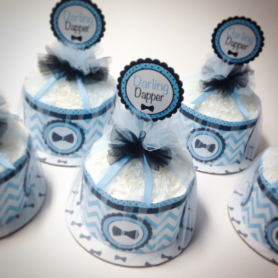 Diaper Cake - Diaper Cakes - Mini Diaper Cake Set - Bow Tie Baby Shower - Baby Shower Decor - Baby Shower Centerpeice - Chevron Diaper Cake