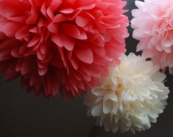 PINKS / Pink Tissue Paper Pom Poms /Baby Shower /Pink Nursery /It's A Girl / Strawberry Shortcake birthday / pink baby shower / pink party