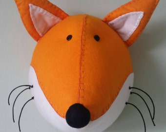 FOX - Faux Taxidermy - Felt Wall Mounted Animal Head - Fred Fox - orange - wall decor.