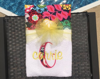 Fun with Florals!!! Bright and Bold Embroidered Beach Towel, Lounge Chair Towel, or Beach Blanket