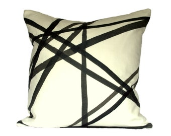 Kelly Wearstler Channels Ebony / Ivory designer pillow cover - Made to Order - Choose Your Size