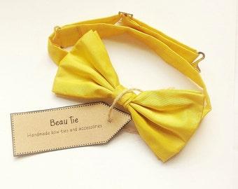 Mens bow tie yellow silk, canary yellow bow tie, silk bow tie,  wedding bow tie