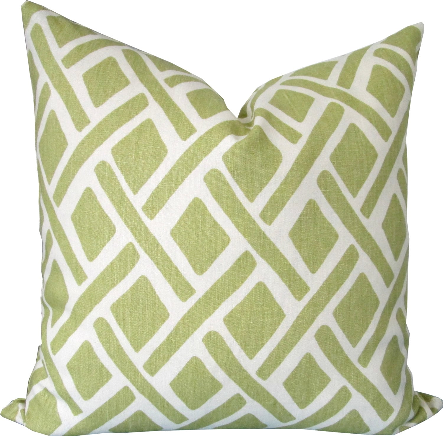 Green and Ivory Geometric-Decorative Pillow