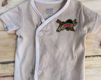 Hand dyed camouflage LOVE baby   T- shirt size 0-3 months. Ready to ship
