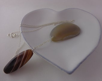 Grey and Brown Banded Agate on a Sterling Silver Chain Necklace