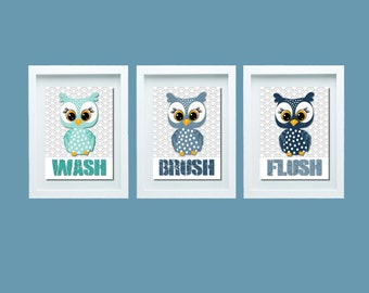 Wash Brush Flush Boys Bathroom Wall Art Boys Bathroom Rules Boys Bathroom Decor