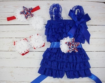 5 pc SET- red,white,blue  Romper- Baby Girl Rompers  - Lace Baby Romper / headband / barefoot sandals