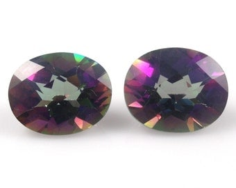 Mystic Topaz Oval 8x6mm Checkerboard Cut Top Excellent Rainbow Color (2525)