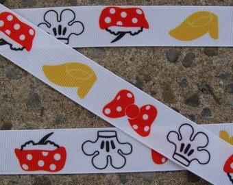 """3 yards Disney Grosgrain Red Bow Printed Ribbon 7/8"""" Minnie Mouse Ribbon"""