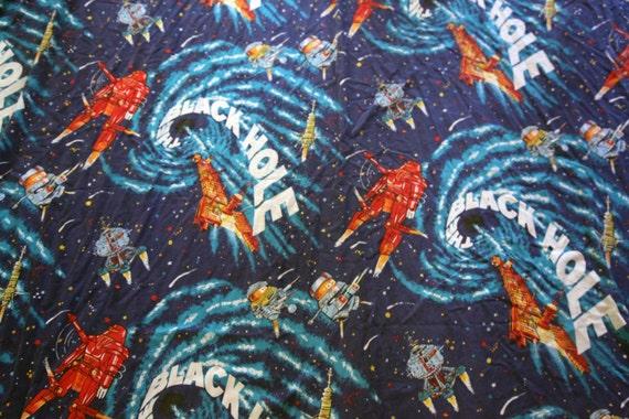 Vintage 70s black hole fabric sheet flat space by for Space time fabric black hole