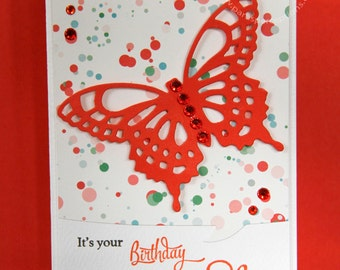 A set of 6 butterfly themed birthday cards