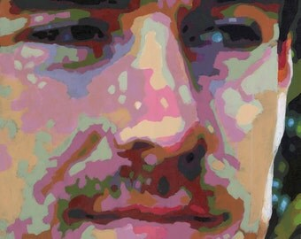 Irishman, Large 29x30 Closeup Portrait Painting in Acrylic