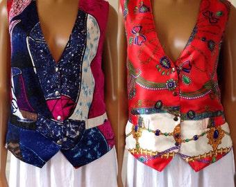 Handmade Reversible Vest Liquid Satin Abstract Art Picasso Baroque Print L/XL