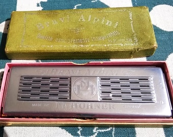 Vintage Hohner 'Bravi Alpini' Double Sided Harmonica in Original Box (1950s)